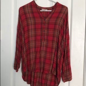 Lucky Brand red plaid casual button down